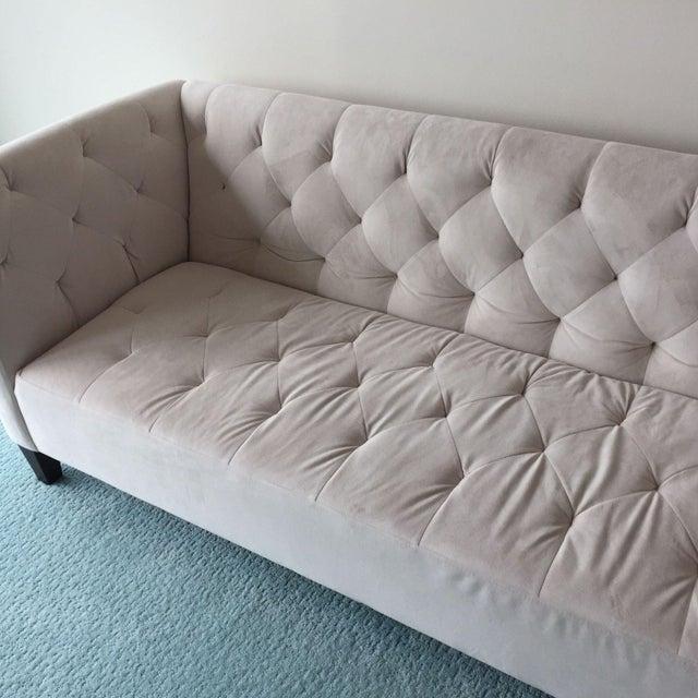 Tufted Sofa In Ivory Velvet Chairish