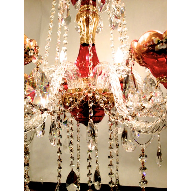 Red Crystal Chandelier - Image 4 of 8