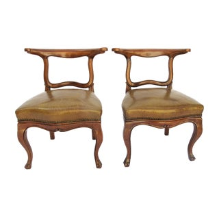 English Regency Leather Side Chairs - Pair