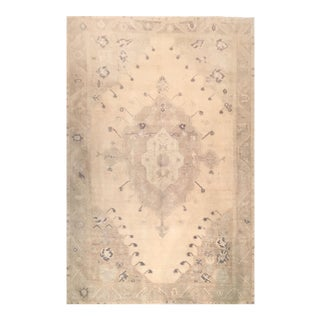Vintage Turkish Oushak Beige Wool Rug - 5′5″ × 7′10″