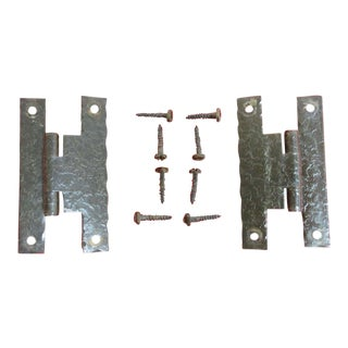 Ethan Allen Heirloom Hammered Nutmeg Door Hinges - A Pair