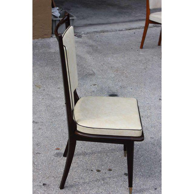 Image of 1940s Vintage French Art Deco Dark Mahogany Dining Chairs - Set of 6