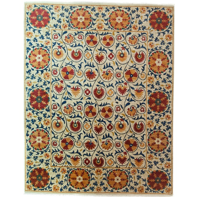"Suzani Orange & Red Hand-Knotted Rug - 8'2"" X 10'5"" - Image 1 of 3"
