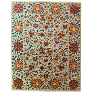 "Suzani Orange & Red Hand-Knotted Rug - 8'2"" X 10'5"""