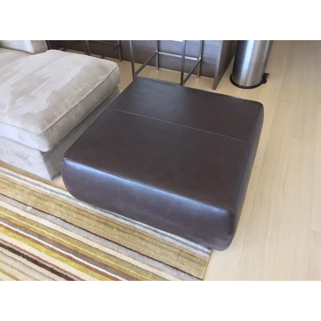 Room & Board Brown Leather Ottoman - Image 3 of 4