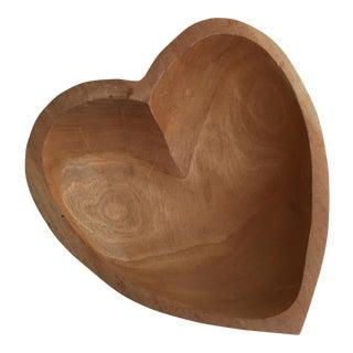 Vintage Carved Wood Heart Shaped Bowl