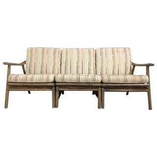 Vintage Mid-Century Modern Bamboo Rattan Sofa