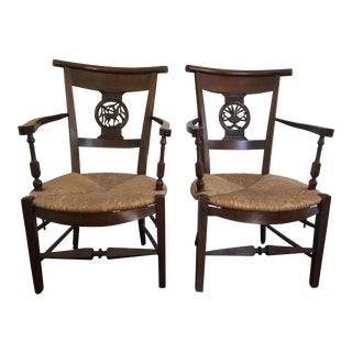 French Country Fireside Armchairs - A Pair
