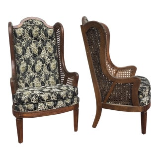 Lewittes Wingback Cane Upholstered Chairs - A Pair