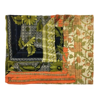 Chartreuse Clusters Rug and Relic Kantha Quilt