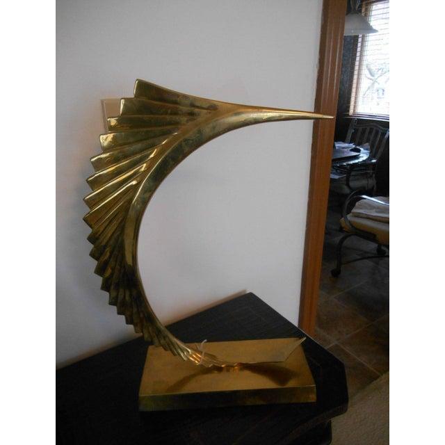 Mid-Century Modern Abstract Sailfish Brass Sculpture - Image 4 of 5