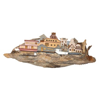 Waterfront Scene Painted on Driftwood