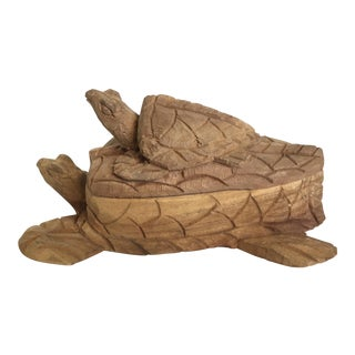 Hand Carved Wooden Turtle Box