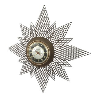 Brass Starburst Wall Clock