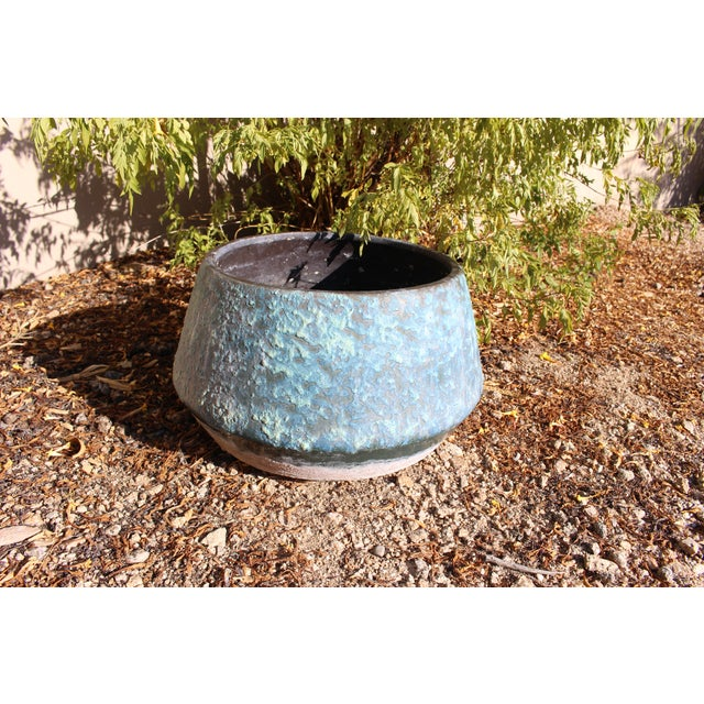Mid-Century Blue Fat Lava Glaze Drip Planter Pot - Image 4 of 10