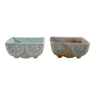 Mid-Century Slag Glass Planters Bowls - A Pair