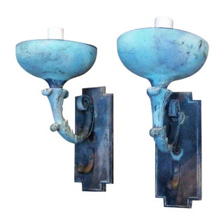 Antique Bronze Exterior Sconces - a Pair