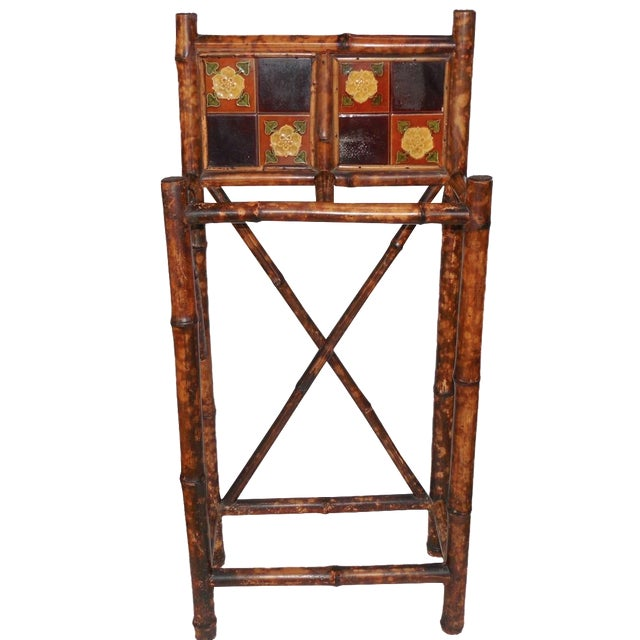English Arts & Crafts Stick Stand with Tiles - Image 1 of 7