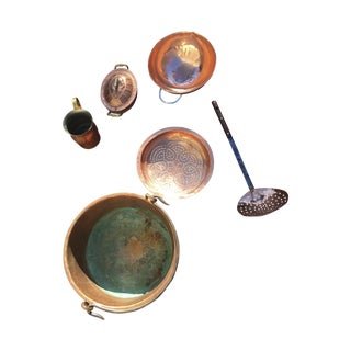 Antique Copper Kitchen Pieces - Set of 6