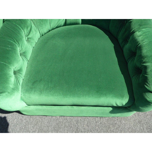 Vintage Pair of Mid Century Modern Tufted Green Velvet Swivel Club Chairs - Image 11 of 11