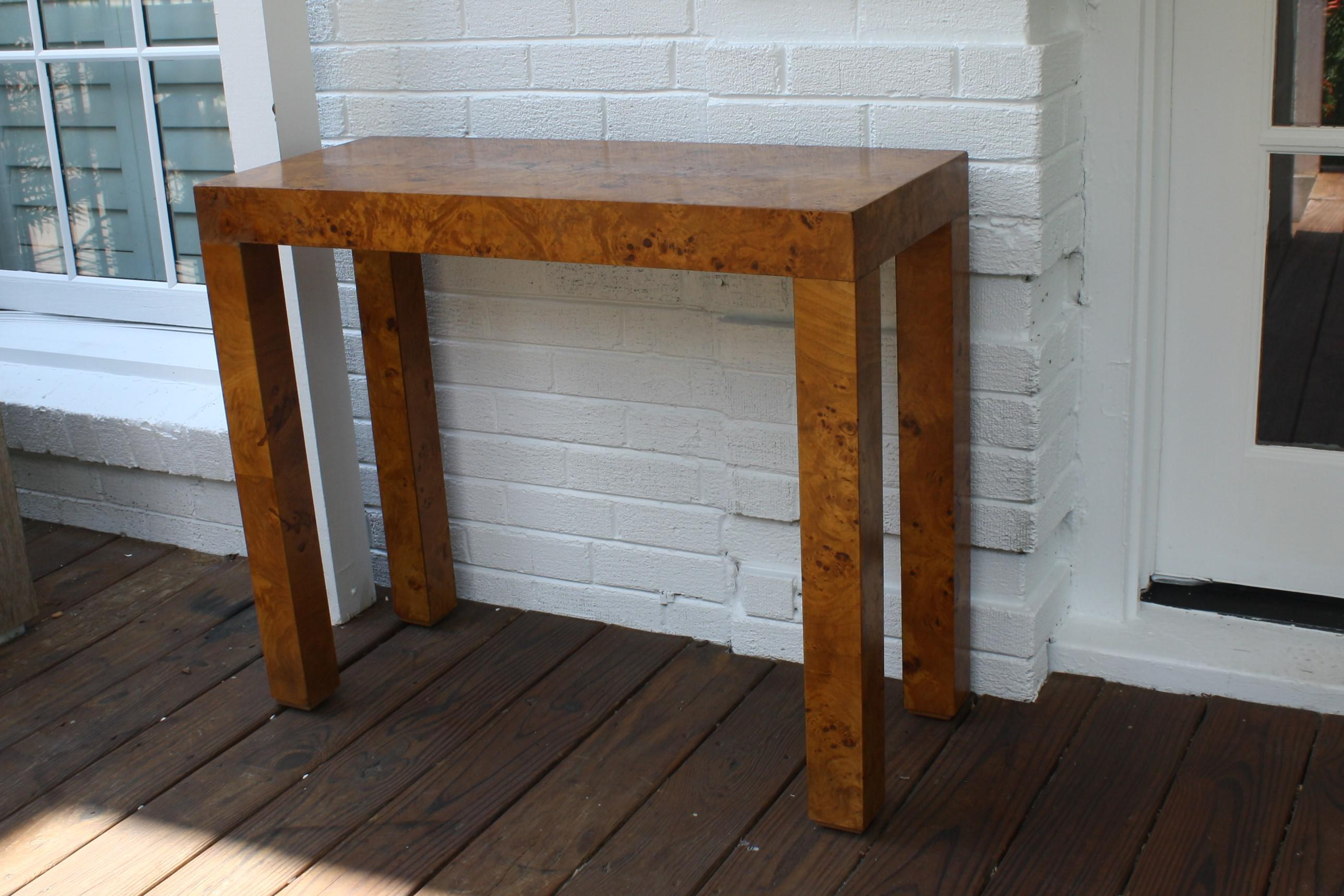 vintage parsons burl wood console table image 2 of 11