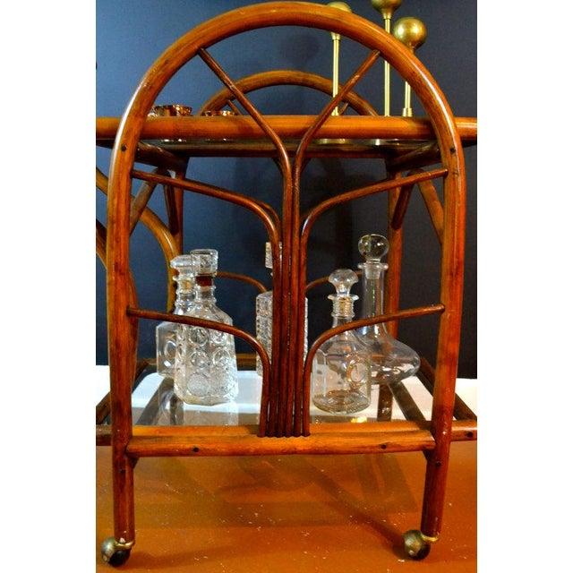 Hollywood Regency Rattan Rolling Drink Cart - Image 5 of 6