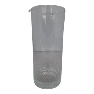 Midcentury Etched Glass Cocktail Pitcher