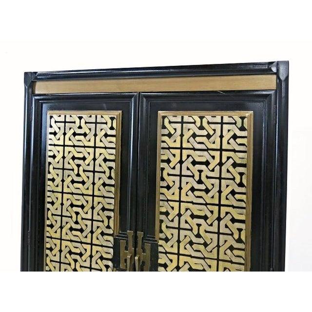 Mid-Century Gold Black Laquer Armoire Wardrobe - Image 4 of 10