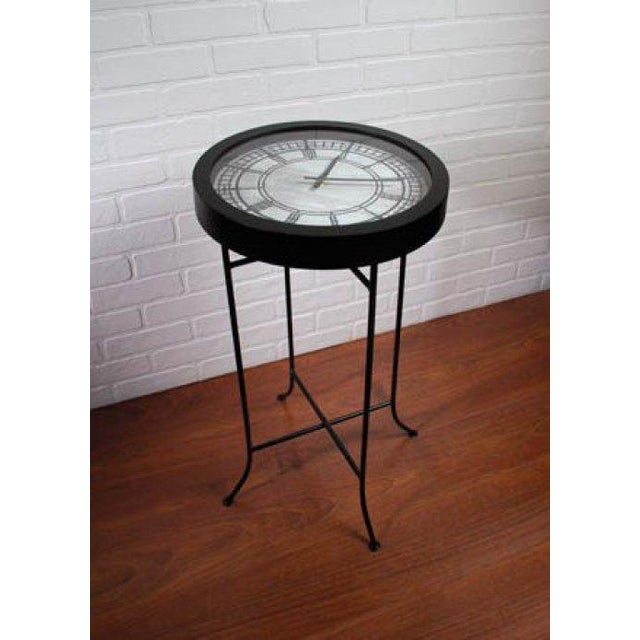 black quartz clock end table chairish. Black Bedroom Furniture Sets. Home Design Ideas