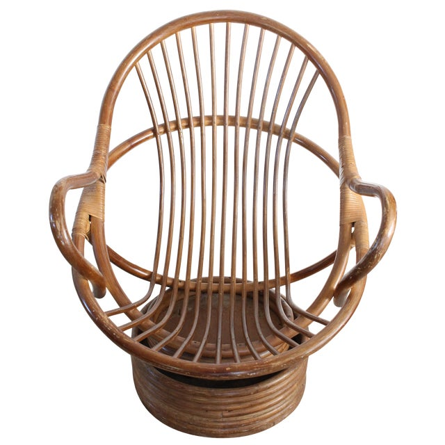 Image of Vintage Rattan Swivel Chair