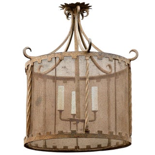 French Iron Drum Three-Light Fixture with Screen Surround from the 1930s