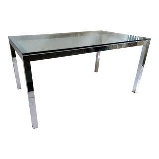 Milo Baughman-Style Chrome & Glass Parsons Style Partners Desk