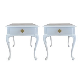 White Chippendale Side Tables -- A Pair