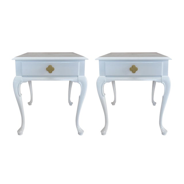 White Chippendale Side Tables -- A Pair - Image 1 of 6