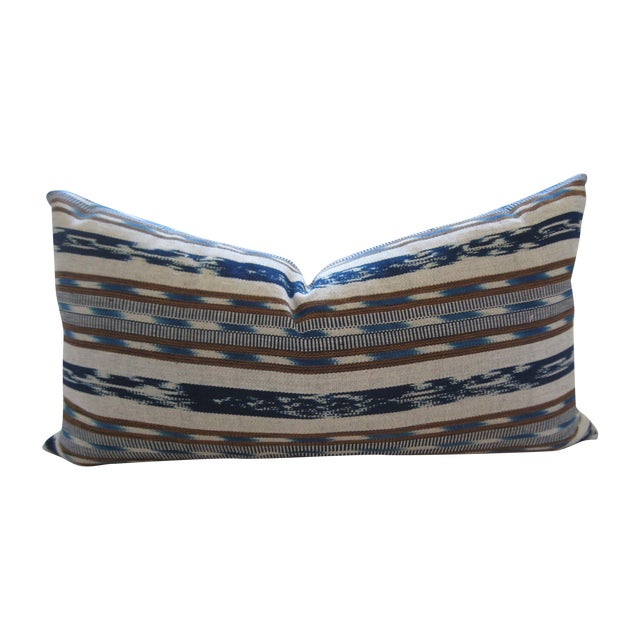 Hand-Loomed Ikat Lumbar Pillow - Image 1 of 4
