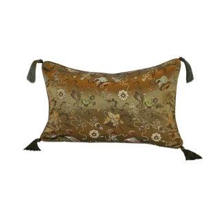 Bronze Ribbon Silk Brocade 12x18 Pillow