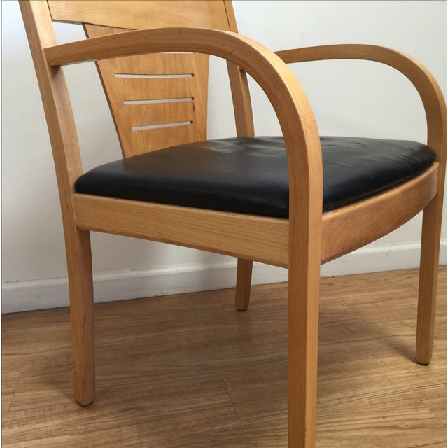 Bentwood and Leather Vecta Arm Chairs - Pair - Image 5 of 9