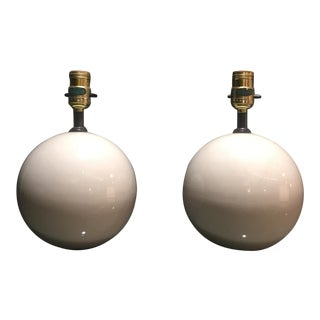 Mid Century Porcelain Ivory Sphere Lamps - A Pair