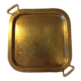 Art Deco Hammered Brass Cocktail Tray