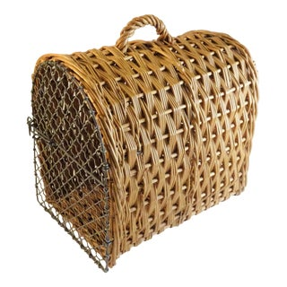 Vintage Wicker Pet Crate Carrier Cage