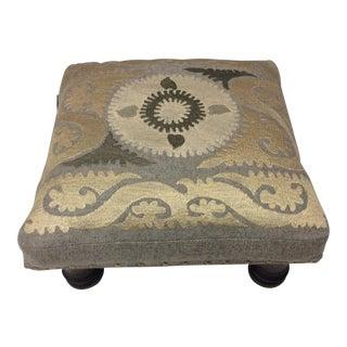 Suzani Embroidered Wood Footstool