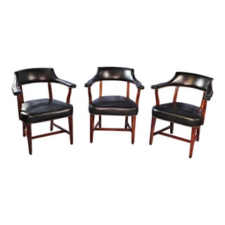 1968 Mid-Century Leather Club Arm Chairs - Set of 3