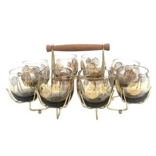 Vintage Smokey Topaz Low Ball Glasses with Caddy - Set of 8