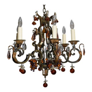 Antique chandelier, iron with crystal fruit