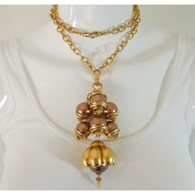 1980s Runway Cocoa Pearls Long Pendant Necklace - Image 2 of 7
