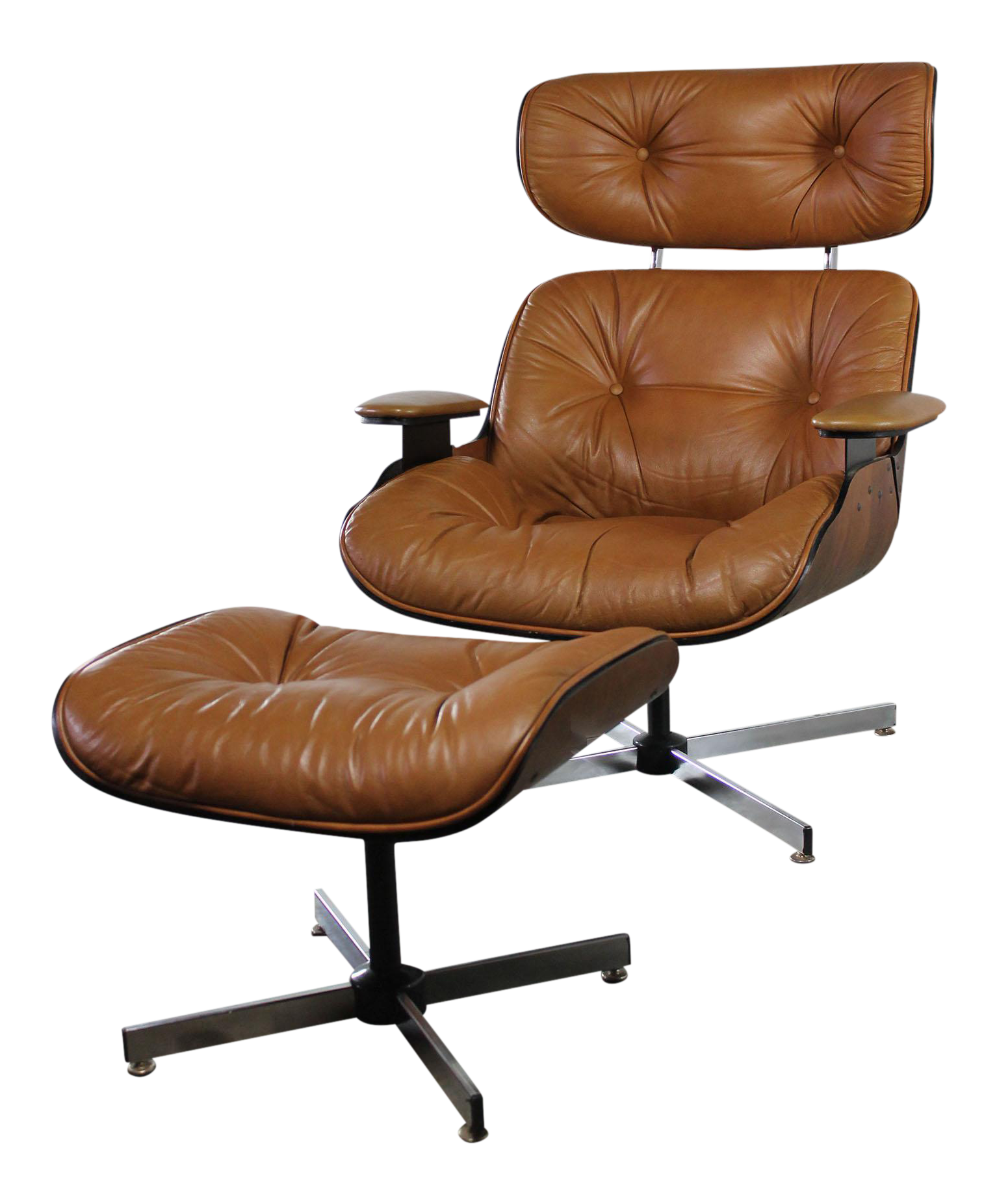 Mid Century Modern Plycraft Eames Style Lounge Chair & Ottoman