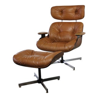 Mid-Century Modern Plycraft Eames-Style Lounge Chair & Ottoman