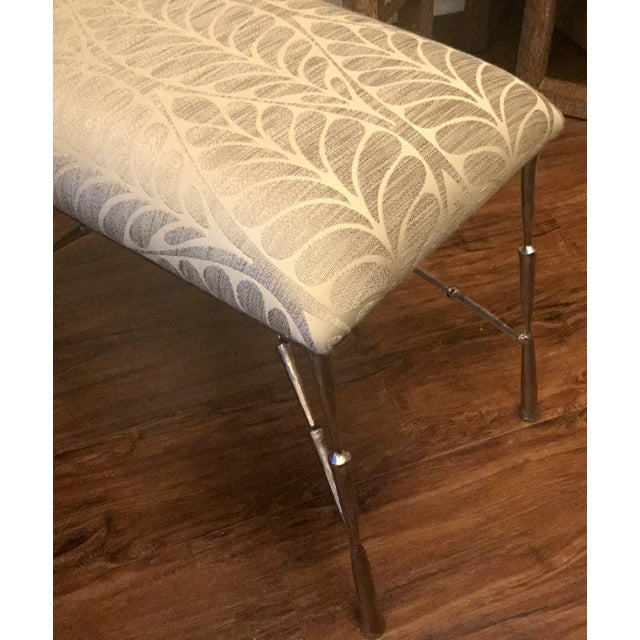 Nickel Bamboo Stool With Custom Upholstery - Image 3 of 6