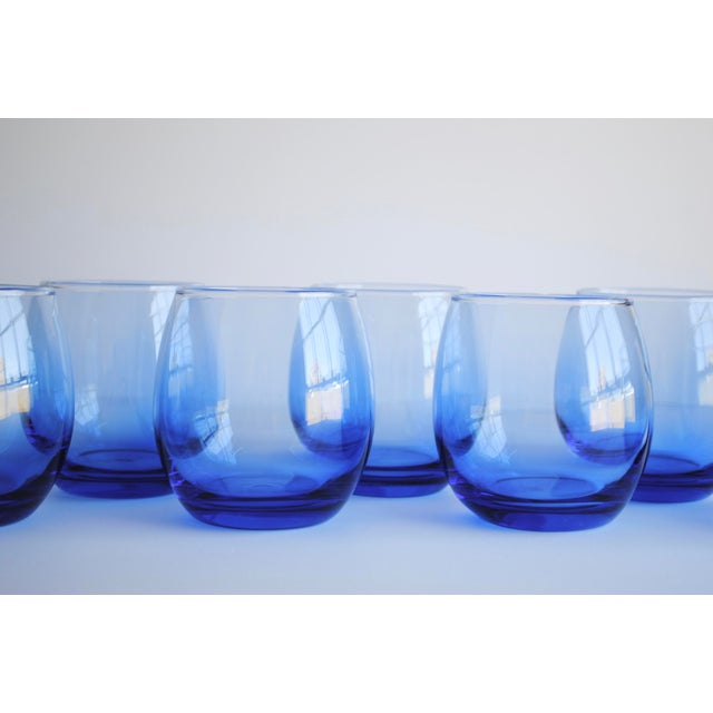Blue Roly Poly Glasses, Set of 8 - Image 5 of 5