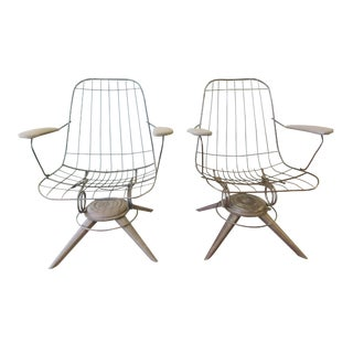 Mid-Century Modern Homecrest B25 Bottemiller Swivel Lounge Chairs- A Pair